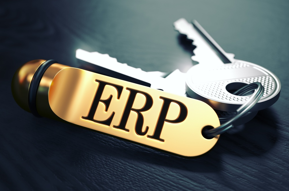ERP - Enterprise Resource Planning - Concept. Keys with Golden Keyring on Black Wooden Table. Closeup View, Selective Focus, 3D Render. Toned Image..jpeg